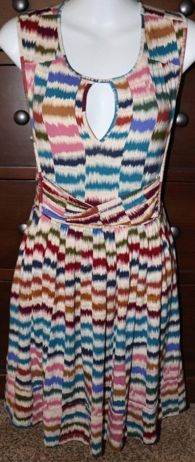 Anthropologie Maeve Sennebec Jersey Keyhole Keyhole Keyhole Dress Rainbow Size XS XSmall 0c5c81