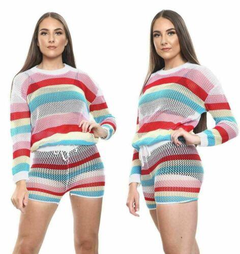 Details about  /Womens Multi colour Stripe Fishnet Set  2 Pieces Mesh Look Style Top and Short