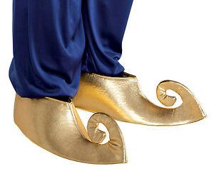 moda caliente alta calidad descuento de venta caliente Detalles de Hombre Genio Aladino Zapatos Dorado Alí Babá Deluxe Medieval  Árabe Disfraz