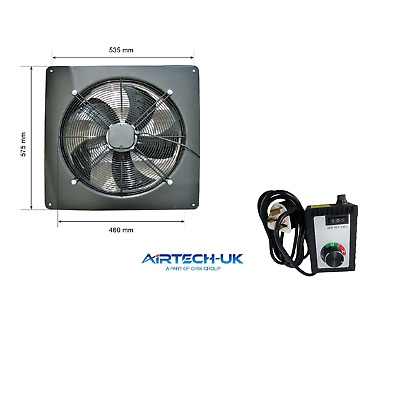 Industrial Extractor Metal Plate Fan Axial Exhaust Blower 450MM+speed Controller