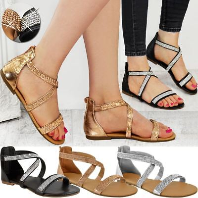 Womens Flat Low Heel Diamante Strappy Sandals Dress Party Occasion Summer Size