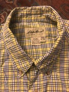 Men-039-s-Eddie-Bauer-Yellow-Blue-Plaid-Button-Up-Long-Sleeve-Shirt-XL-XG-Preowned
