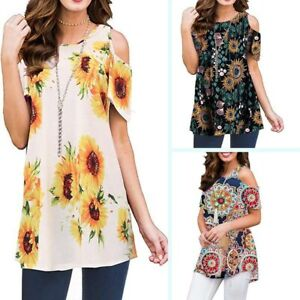 Floral-loose-t-shirt-womens-short-sleeve-summer-ladies-casual-blouse-crew-neck