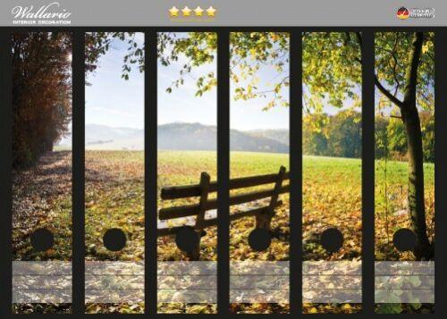 Wallario Ordnerrücken selbstklebend 6 breite Ordner Idyllische Holzbank Bergen