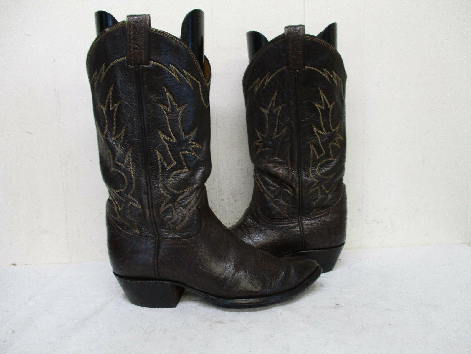 Tony Lama Brown Leather Cowboy Boots Mens Size 8.5 EE Style 6283 USA