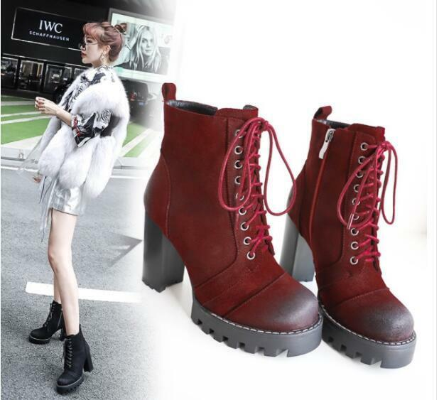 2019 Womens Vintage Combat Retro Mid Calf Boots Chunky Block High Heel shoes