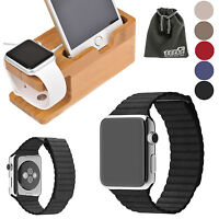 Eeekit Apple Watch Series 1 2 Leather Wrist Band Strap+wood Desk Dock Station