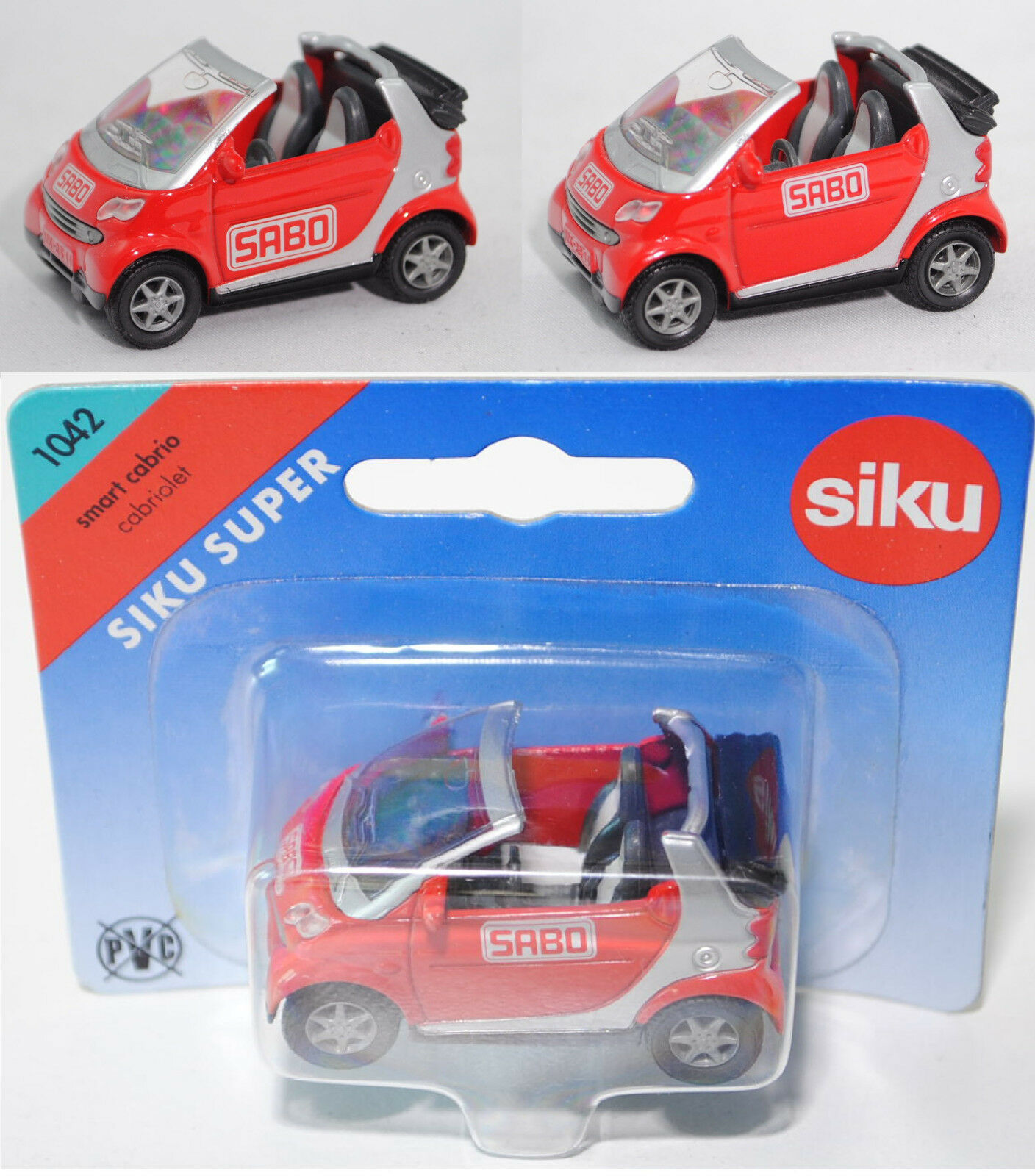 Siku Super 1042 smart fortwo cabrio passion, SABO, ca. 1 50, Werbemodell  | Die Königin Der Qualität