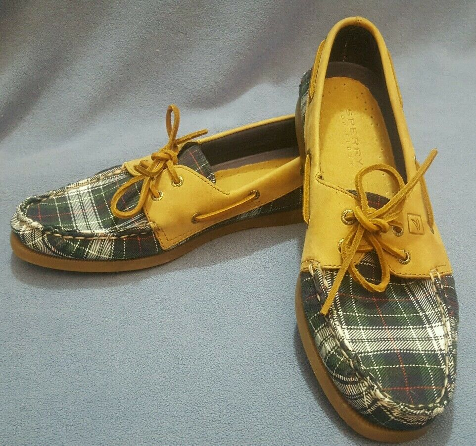 Sperry Top Sider A O 2 Eye Tartan Plaid Fly Fish Boat shoes Size 10M STS93530