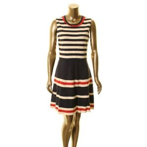 ANNE-KLEIN-NEW-Women-039-s-Striped-Sleeveless-Fit-amp-Flare-Sweater-Dress-TEDO