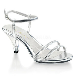 8ac2a83a36ae Image is loading Silver-Rhinestone-Strappy-Heels-Sandals-Drag-Queen-Pageant-