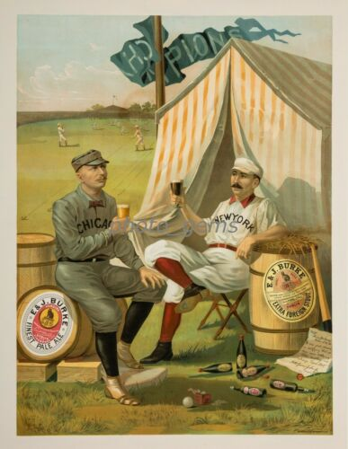 """1889 Cap Anson Buck Ewing /""""Burke Ale/"""" Beer High Quality 11x14 Archival Poster"""