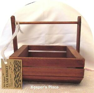 Vintage-Handmade-Wooden-New-England-Clam-Basket-With-Handle-And-Tag