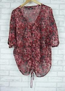 SARA-Top-blouse-Sz-1X-16-Red-pink-grey-floral-print