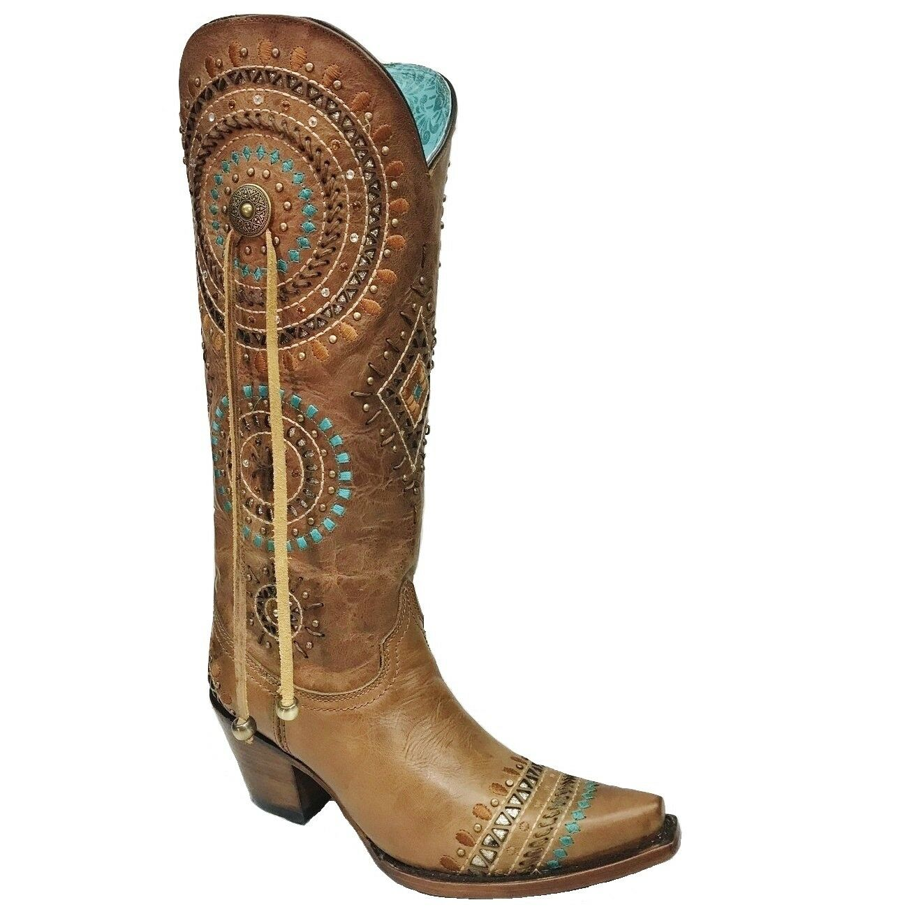 Corral Ladies Honey Embroidery and Stud Boot A3524