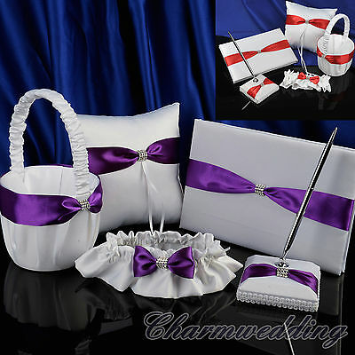 Wedding Guest Book Pen Set Red/Purple Bow Ring Pillow Flower Girl Basket Garter