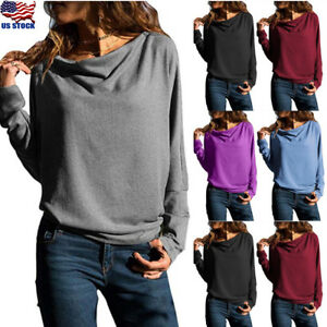 Womens-Long-Sleeve-Loose-Blouse-Office-Ladies-Casual-Shirt-Tops-Plain-T-Shirt-US