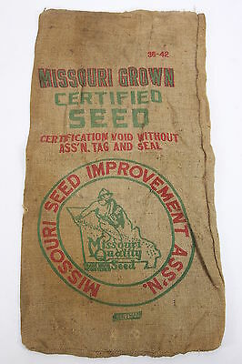 Missouri Grown Certified Seed  Burlap Advertiser Sack Seed Improvement Ass'n