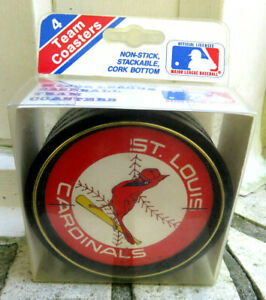 St-Louis-Cardinals-Baseball-Set-Of-4-Stackable-Coasters-NEW-IN-PACKAGE-1988