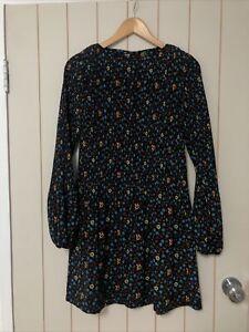 EUC-Maje-Rockina-Floral-Print-Pleated-Black-Blue-Mini-Dress-Size-3-RRP-410