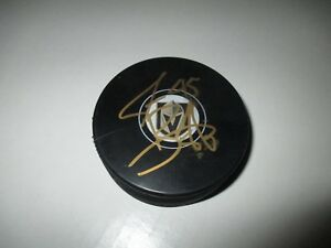 Vegas-Golden-Knights-JAKE-BISCHOFF-Signed-Hockey-Puck-GOLD