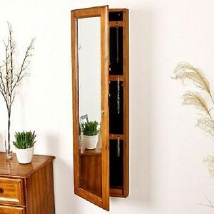 Image Is Loading Wall Mount Armoire Jewelry Storage Cabinet Solid Wood