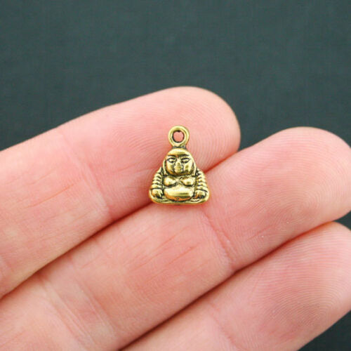 15 Buddha Charms Antique Gold Tone 2 Sided GC606