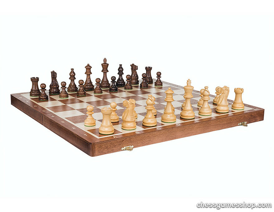 Tournament American Stauton  folding  wooden chess set - Great gift  80% di sconto