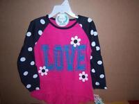 Gerber Graduates Girl's Pink Shirt, Love, Flowers, Polka Dots