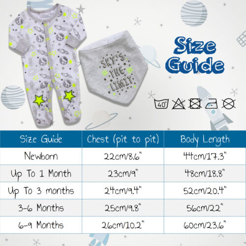Bébé Garçons Espace en coton imprimé ange Baby Grow Sleepsuit Bib Newborn astronaute UK
