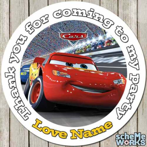 Cars Disney 45mm 64mm Circle Rectangle Personalised Birthday Sticker Party S137