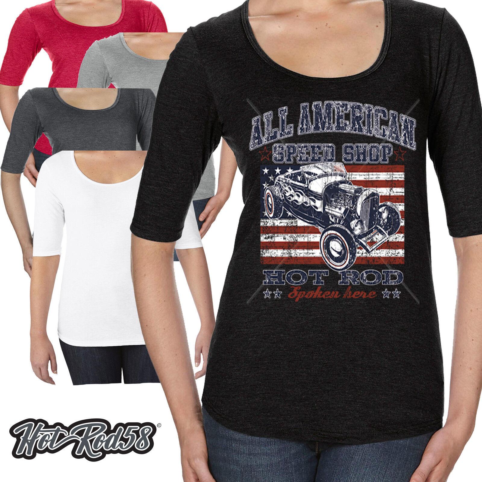 Mesdames hotrod neck scoop neck hotrod t shirt american speed shop voiture garage rockabilly 213 705887