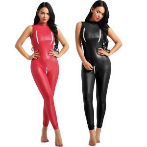 Women Metallic Wetlook Leather Jumpsuit Bodysuit Catsuit Zipper Clubwear Costume