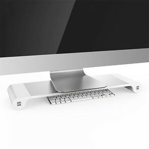 Monitor Stand Space Bar Desk Organizer With 4 Usb Ports For Pc