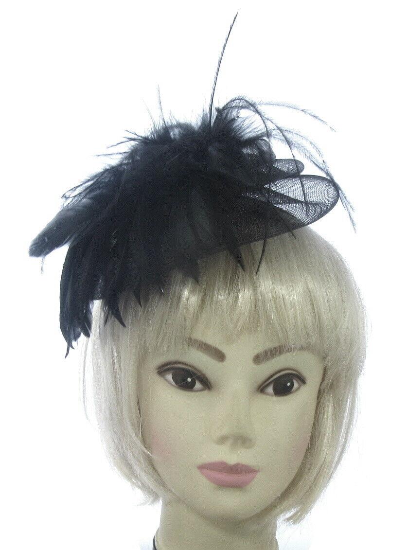 Black Aliceband Feather Fascinator Ladies Day Ascot Races Wedding Headband