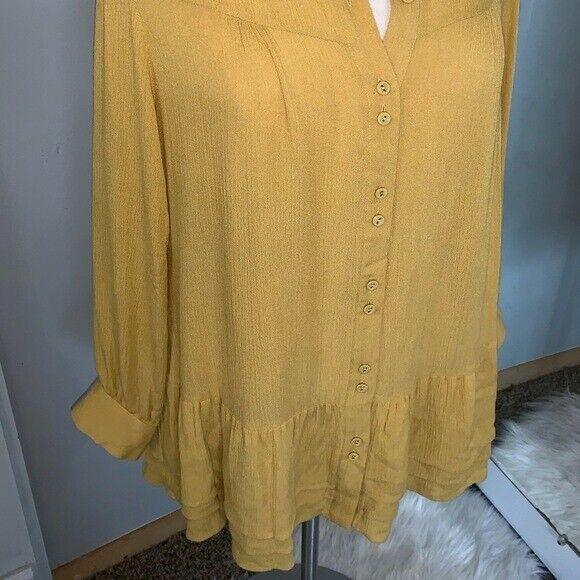 Soft Surroundings mustard yellow tunic blouse Sz M - image 9
