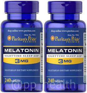 2-X-Puritan-039-s-Pride-Melatonin-3-mg-Sleep-Aid-240-Total-480-Tablets