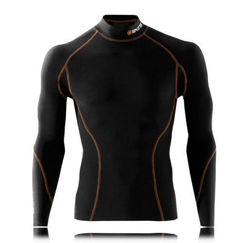 Skins Thermal Snow Mens Long Sleeve Top with mock neck Black//Orange stitching