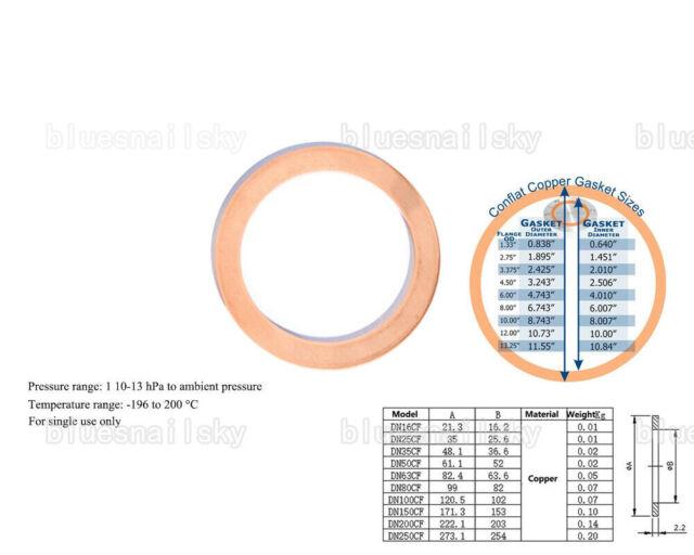 USA CF100 Copper Gasket High Vacuum Pump Flange Fitting Parts Conflat Flanges