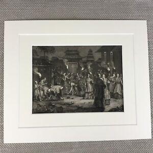 Antik-Original-18th-Century-Gravierung-Picart-Shinto-Japanische-Spirit-Festival