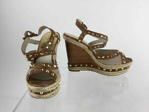 MICHAEL-Michael-Kors-Brown-Studded-Leather-Espadrille-Trim-Wedge-Sandals-Size-9
