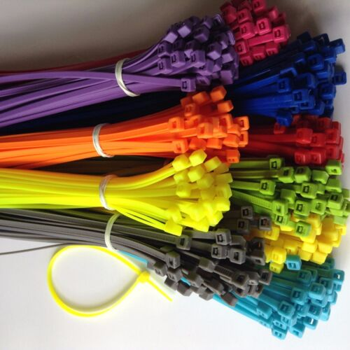 """500pcs 6/"""" ASSORTED COLOR Network Cable Cord ZIP Wire Tie Strap 40 Lbs Nylon"""