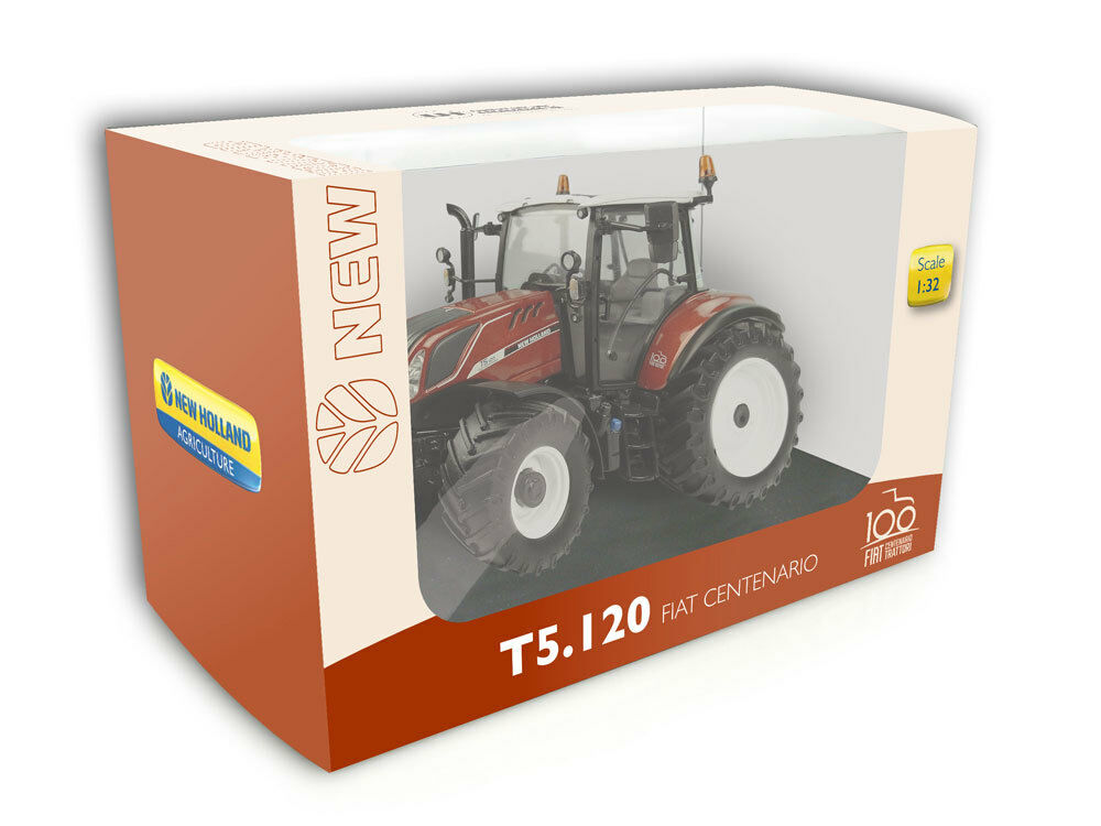 5362 UNIVERSAL HOBBIES New Holland T5.120 tracteur FIAT 100 ans 1 32 Boxed