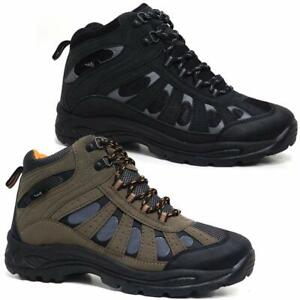 59f82b33eb0 Details about MENS HIKING BOOTS WALKING ANKLE HI TOPS TRAIL BLACK TREKKING  TRAINERS SHOES SIZE