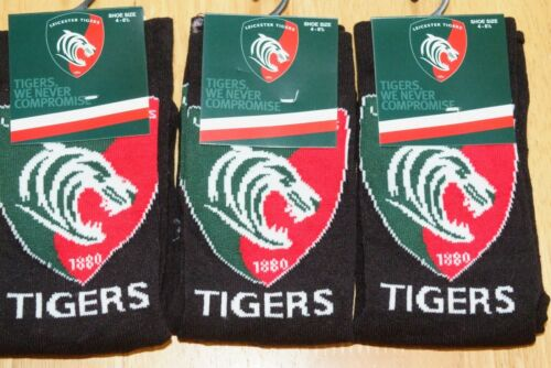 Garçons Leicester Tigers Rugby Club badge Crest Team Chaussettes 2 Tailles NOUVEAU