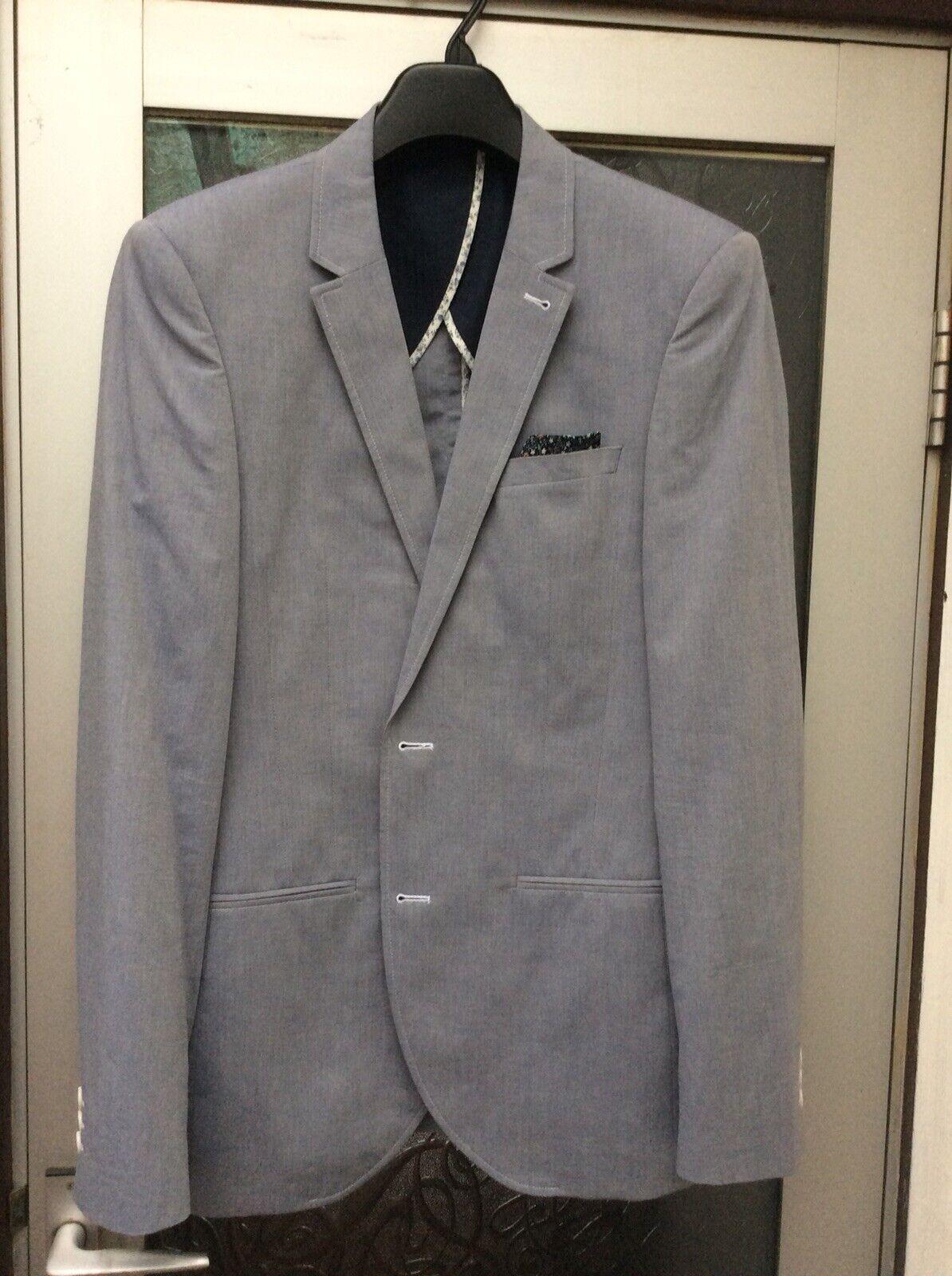 NEXT COLLECTION Men's bluee Grey Pure Cotton Slim Fit Blazer 38R