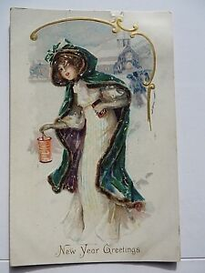 Vtg-Greeting-Postcards-Includes-New-year-Tgiving-Early-1900s-Lot-of-7-9286
