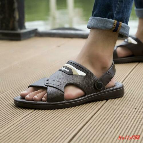 Fashion Mens Open Toe Sandals Casual Beach Antiskid Outdoor Shoes Slippers NEW