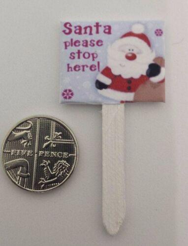 1:12th in miniatura scala Casa delle Bambole Accessorio Natale Babbo Natale Stop Qui Firmare