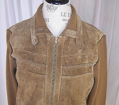 Men's XL Vintage Alvin Josef Suede Leather & Ribbed Knit Jacket Brown X - Large
